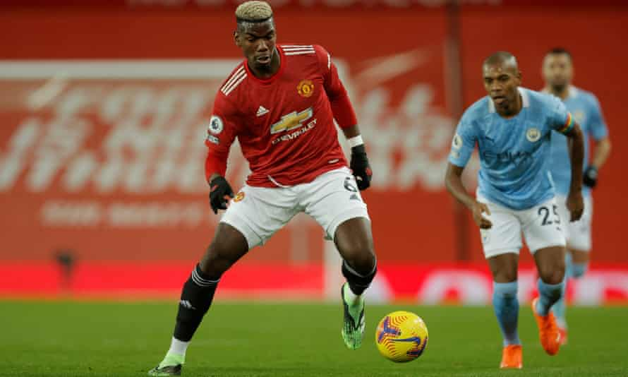 Paul Pogba in action for Manchester United against Manchester City.