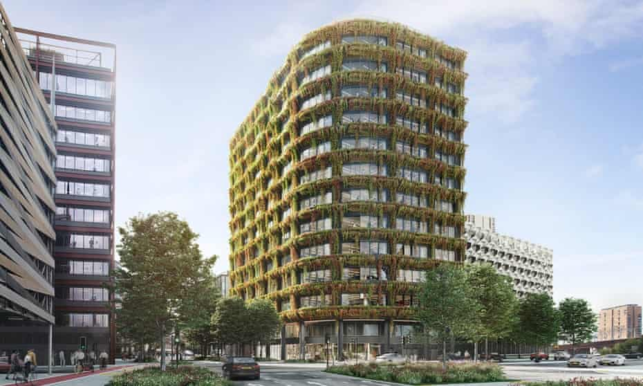 The planned 12-storey office building in Salford clad with living walls