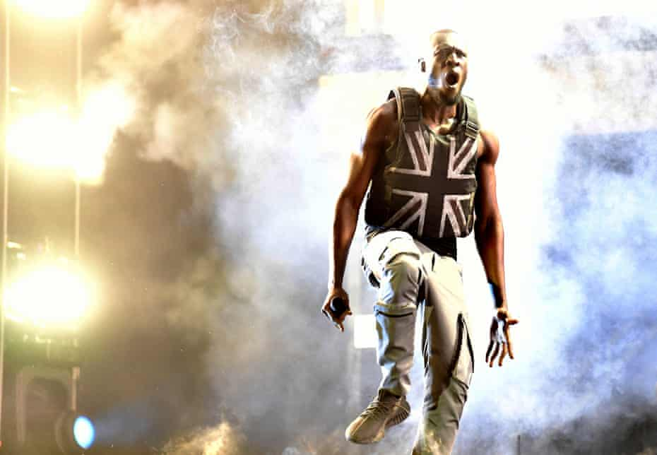 Stormzy performs on the Pyramid stage on 28 June.
