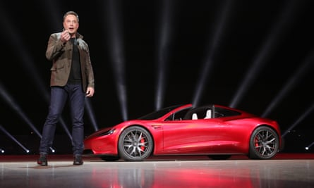 Tesla founder Elon Musk presenting the new Roadster electric sports vehicle this month