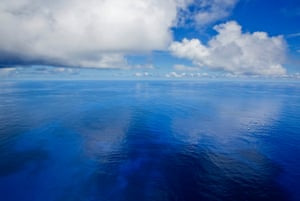 Calm seas on the central Pacific Ocean, where the Rainbow Warrior travels to expose out of control tuna fisheries.