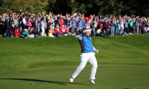 Team Europe's Suzann Pettersen celebrates winning.