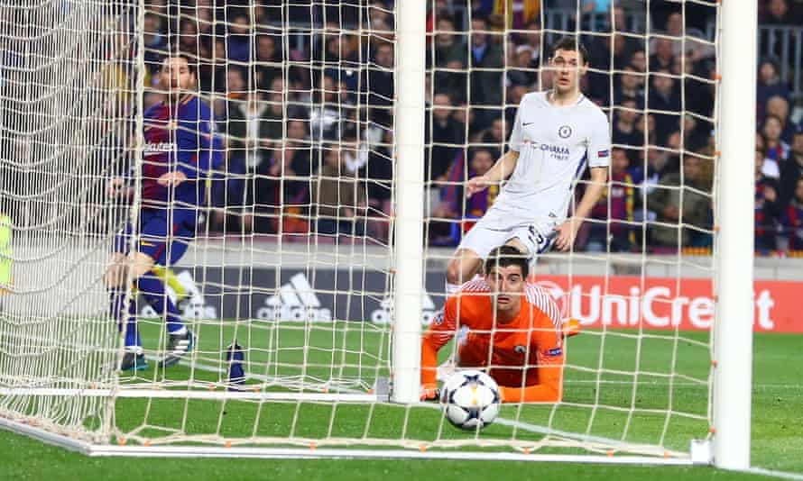 Thibaut Courtois watches Lionel Messi's shot hit the back of the net from the tightest of angles after going through the keeper's legs.