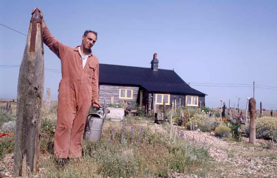 Derek Jarman at Prospect Cottage, Dungeness, in 1992, two years before he died.