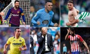 Clockwise from top left: Lionel Messi, Iago Aspas, Joaquín, Diego Costa, Zinedine Zidane and Santi Cazorla.