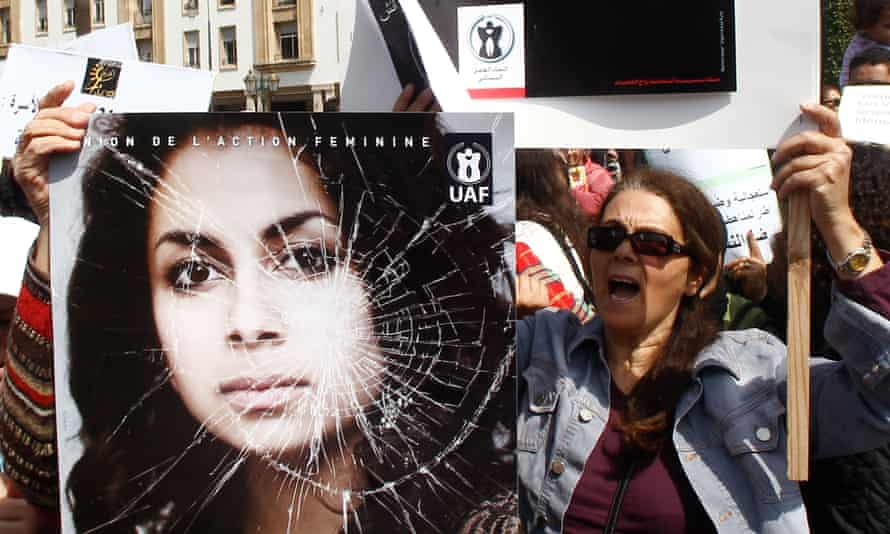 A woman protests against sexual violence in Morocco