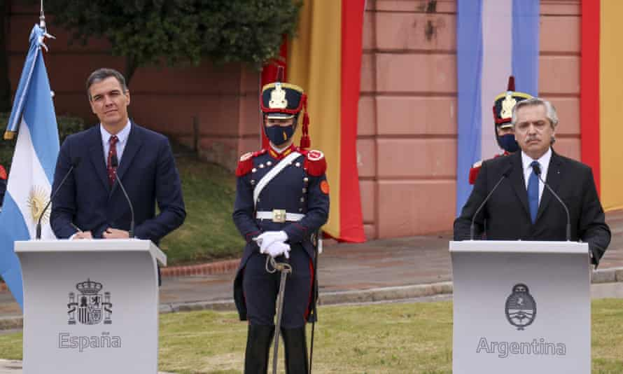 President of Argentina, Alberto Fernandez, right, and Prime Minister of Spain, Pedro Sanchez hold a joint press conference at Casa Rosada in Buenos Aires on Wednesday.