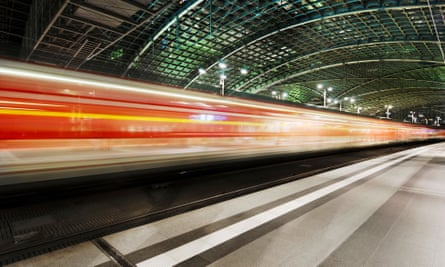 A train leaves Berlin central station