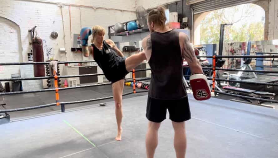 Jenny Valentish training with Nick Mann at Mischa's Boxing Central