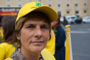 Maria Maranò, member of Legambiente, demonstrates with environmentalists in St Peter's square.