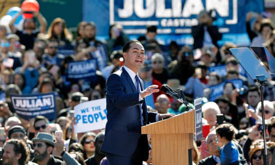 Juliàn Castro announces his candidacy for president in San Antonio, Texas.