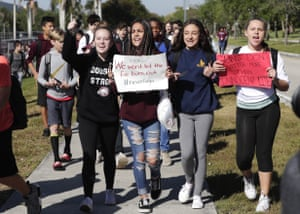FloridaStudents from Westglades Middle School walk out of their school as part of a nationwide protest against gun violence.