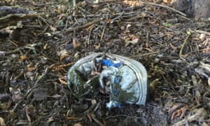A child's shoe lies in the undergrowth that separates Greece and Macedonia