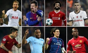 Clockwise from top left: Harry Kane, Lionel Messi, Mohamed Salah, Besiktas defender Pepe, Paul Pogba, Edinson Cavani, Raheem Sterling and Roma's Diego Perotti are all through to the last 16.