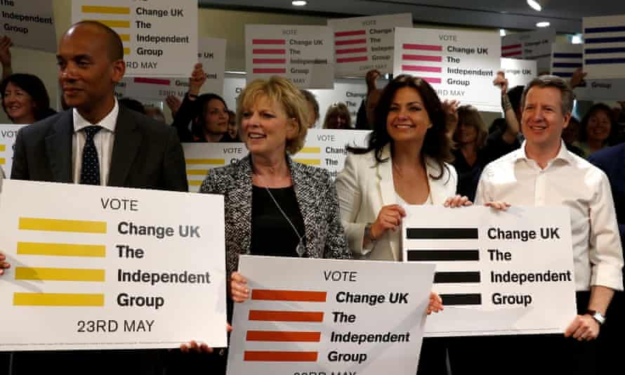 The launch of Change UK's European election campaign, from left, Chuka Umunna, Anna Soubry, Heidi Allen and Chris Leslie.