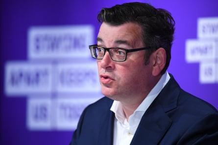 Victorian premier Daniel Andrews addresses the media on Wednesday,