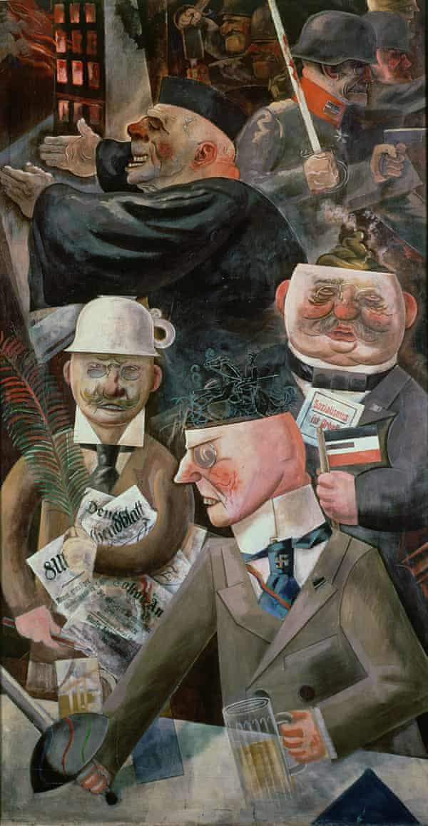 Stormtroopers and a potty helmet … The Pillars of Society, 1926, by George Grosz.