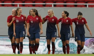 Caroline Hansen (No 10) celebrates after scoring the winner for Norway late in the game.
