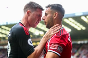 James McCarthy of Crystal Palace exchanges words with Sheffield United defender George Baldock as the Blades win 1-0 at Bramall Lane. Since the start of the 2016-17 season, Chris Wilder has won 77 league matches as Sheffield United boss - only Pep Guardiola, with 88 victories, has won more in that time among managers in England's top four divisions.