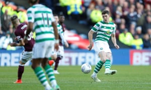 Celtic's Ryan Christie guides his shot towards the top corner of Hearts goalkeeper Zdenek Zlamal's goal in the Scottish League Cup semi-final at Murrayfield.