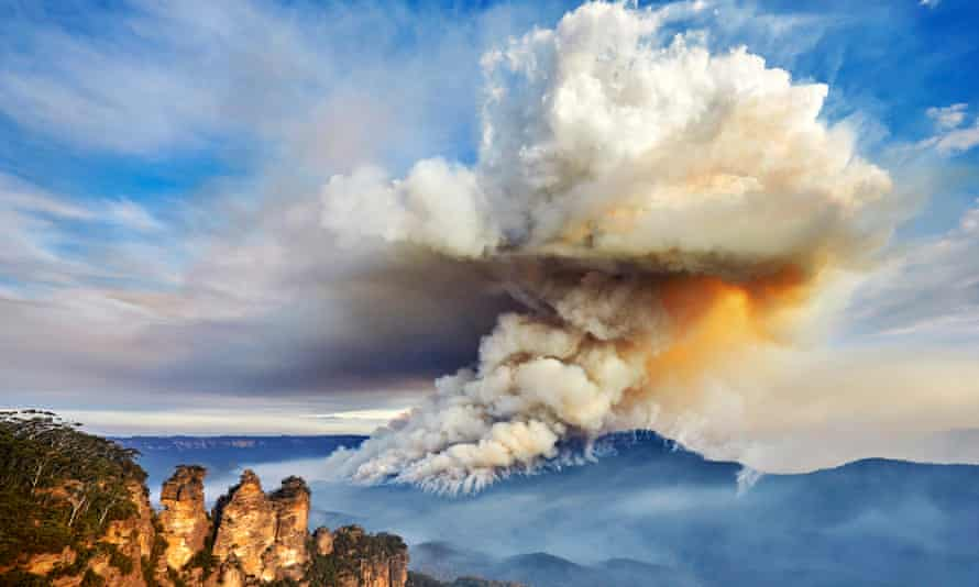 File photo of a large smoke cloud near the Three Sisters in the Blue Mountains, Australia