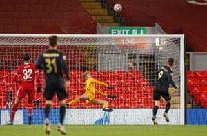Liverpool's Caoimhin Kelleher makes an instinctive save from Ajax's Klaas-Jan Huntelaar.