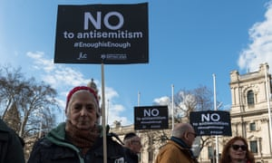 The protest outside parliament over antisemitism in Labour