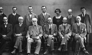 In the run up to the Guardian's bicentenary this coming May, the archivists have been looking back through the photograph collections. This image of The Manchester Guardian editorial staff is believed to have been taken by the newspaper's first staff photographer Walter Doughty for the paper's centenary in May 1921. The only woman in the photo is Madeline Linford who was the first editor of the papers women's page, and subsequently became features and pictures editor. Print scanned from Centenary album GNM Archive ref: GUA/6/9/1/11/1/1.