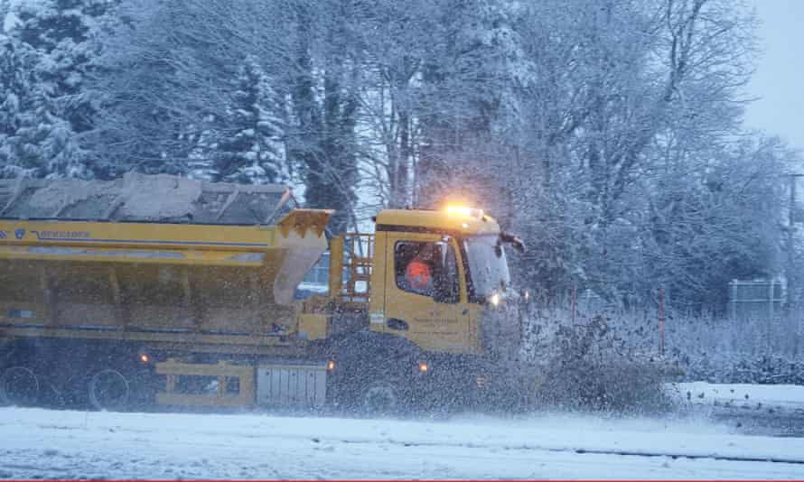 A snow plough clears the A69 near Stocksfield, Newcastle.
