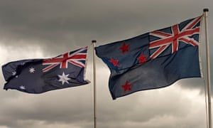 Australian and New Zealand flags fly side by side