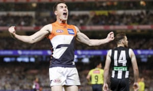 Jeremy Cameron celebrates during the GWS Giants' thrilling victory over the Collingwood Magpies at the MCG.