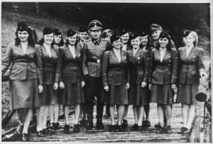 This photo was taken on 22 July 1944, and shows a group of female SS auxiliaries on a day trip to the hut. Höcker is the officer in the centre. The auxiliaries probably worked as radio and telephone operators at Auschwitz and, SS uniforms aside, seem to be ordinary enough women who are enjoying an excursion to the countryside. On the same day, two transports of Hungarian Jews arrived at the camp, most of whom were murdered on arrival