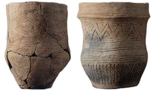 Fineware beakers excavated from the Trumpington Meadows double beaker burial.