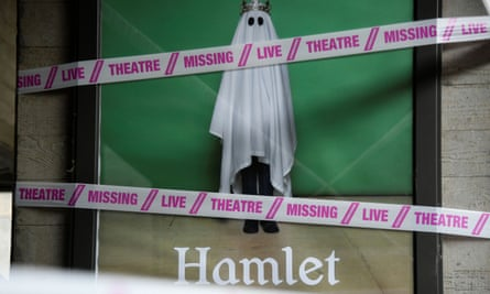 A sign at the National Theatre, London, which is laying off 400 casual staff.