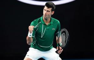Novak Djokovic celebrates a point.