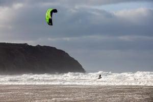A kite surfer in Perranporth.