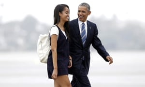 Life in the limelight … Malia Obama with her father Barack