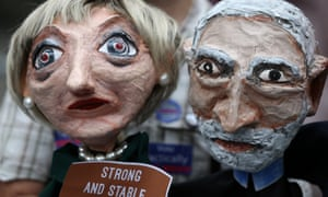 Puppets of Theresa May and Jeremy Corbyn