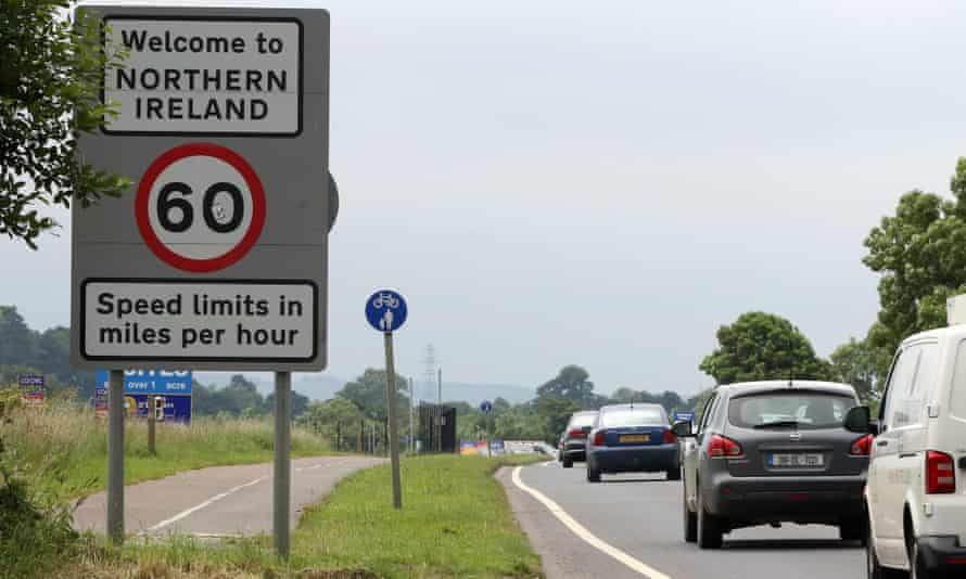 Vehicles crossing the border from Ireland into Northern Ireland