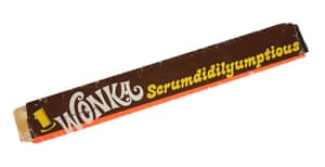 A Scrumdidlyumptious bar wrapper bar from Mel Stuart's fantasy musical Willy Wonka and the Chocolate Factory. Estimate: £6,000 - £8,000