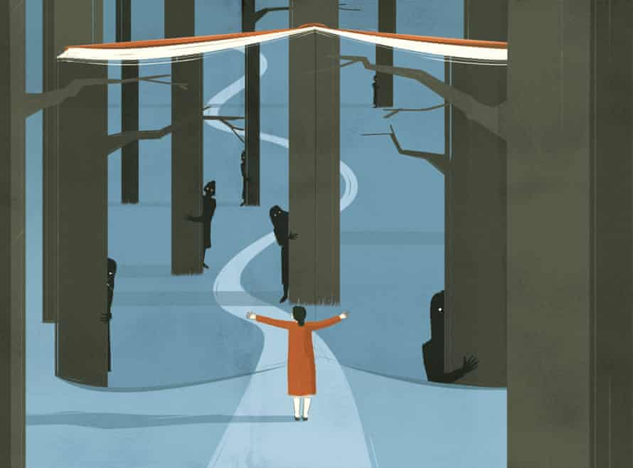 Illustration of woman walking through wood with dark figures hiding behind trees