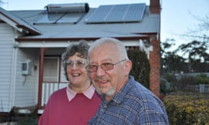 Jenny and Barry Lacey, residents of the Victorian town of Newstead, which aims to source all electricity needs from renewable energy sources within five years, Australia
