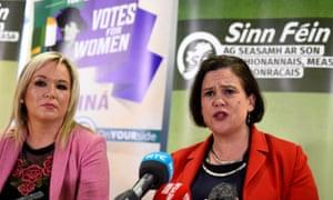 The Sinn Féin president, Mary Lou McDonald, and her deputy, Michelle O'Neill