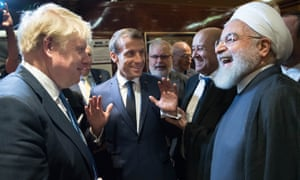 Boris Johnson (left), Emmanuel Macron (centre) and Hassan Rouhani (right) at the 74th UN general assembly last September.