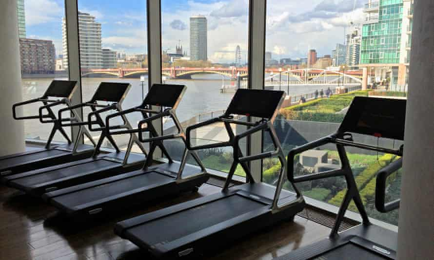 The treadmills overlooking the Thames down to the London Eye.