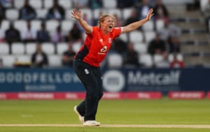 Shrubsole in action for England last year.