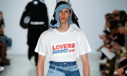 Christopher Shannon's Lovers Direct T-shirt, on the catwalk this year.
