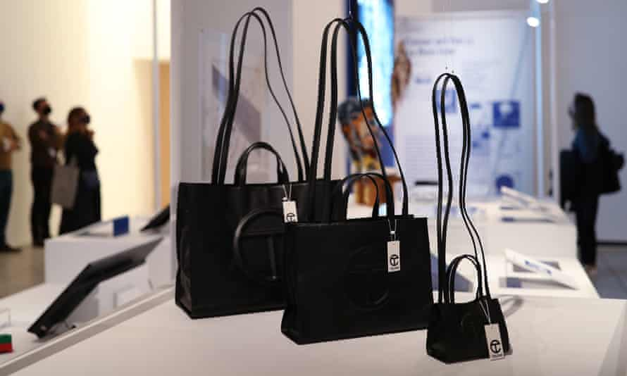 The vegan leather, non-gendered bags by Telfar. Guess has been accused of ripping off the design.