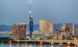 Night view of Fukuoka city and tower