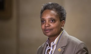 Lori Lightfoot at Chicago's city hall. Critics have called out her far-from-progressive record.